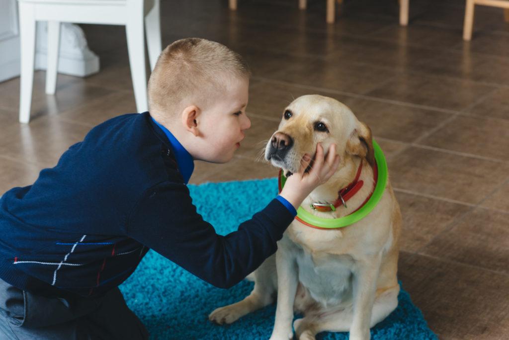 Perro de asistencia con niño con TEA
