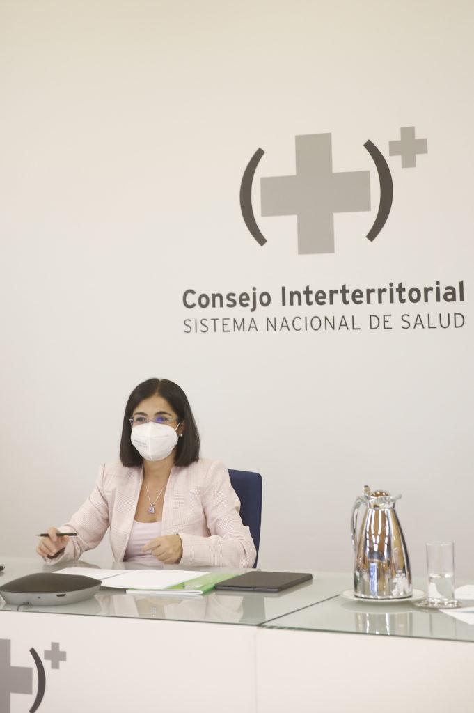 La ministra de Sanidad, Carolina Darias, durante el CISNS del 22 de septiembre de 2021.